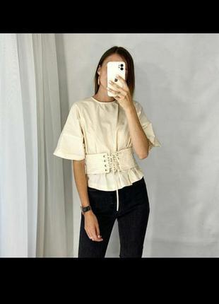 Базовая хлопковая рубашка блуза