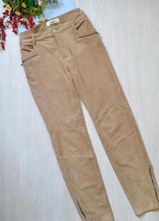 Стильные брюки из искуственной замши с замочками h&m logg
