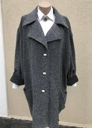 Шерстяное,легкое пальто, плащ букле,трен,кардиган,большой размер