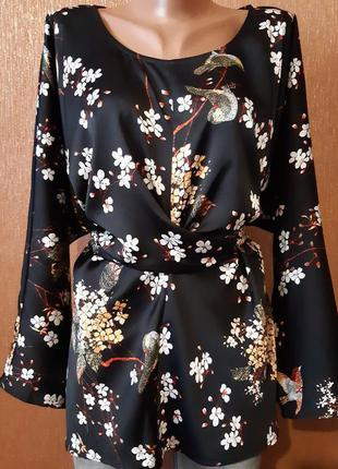 Шикарная атласная блузки на талии завязки длинный рукав батал ...
