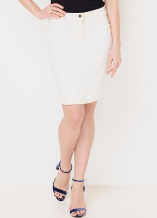Белая джинсовая юбка миди