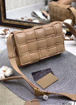 ❤️шикарная кожаная бежевая сумка клатч плетеная