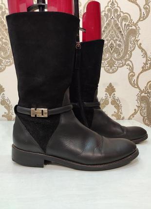 Tommy hilfiger демисезонные кожаные сапоги