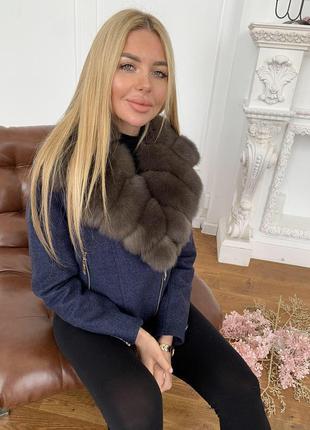 Пальто куртка парка натуральный мех песец чернобурка енот