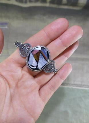Серебряный браслет, мозаика из натуральных камней, 925, серебро