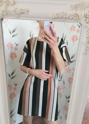 Платье с коротким рукавом в полоску  boohoo , прямой крой