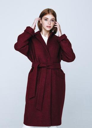 Стильное женское пальто season цвета марсала