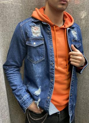 Джинсовая рубашка синияя 17670