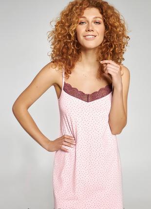 Молодёжная женская ночная сорочка в горошек арт. LND 295/003