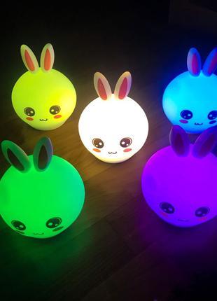 Силиконовый детский ночник (светильник) Зайчик
