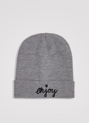 Новая темно-серая шапка серая польша сердце вышитая надпись en...