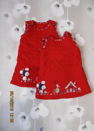 Теплый сарафан на синтепоне/ платье теплое зимнее/для близняшек