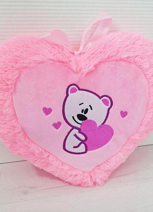 Подушка сердце с мишкой . подарок на день влюбленных !