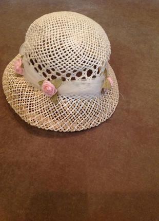 Детская соломенная шляпа с декором, р. 53-54
