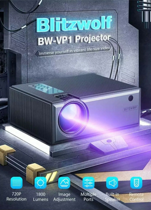 Проектор Blitzwolf BW-VP1 720p 1800lm портативный LCD экран видео