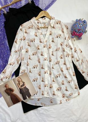 Удлиненная рубашка в милые лисички в новом состоянии