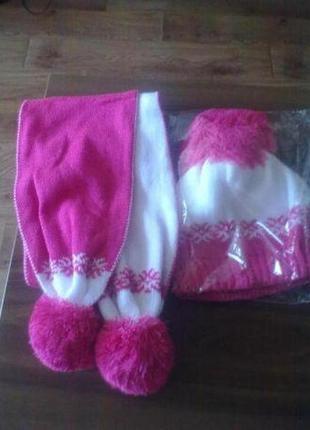 Комплект на девочку - шапка + шарф