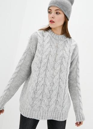 "Вязаный свитер джемпер с узором ""косы"""