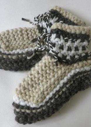 Вязаные тапочки - носки из овечьей шерсти