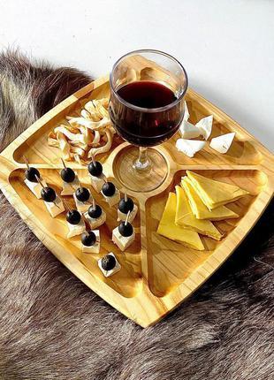 Деревянная тарелка для закусок, менажница
