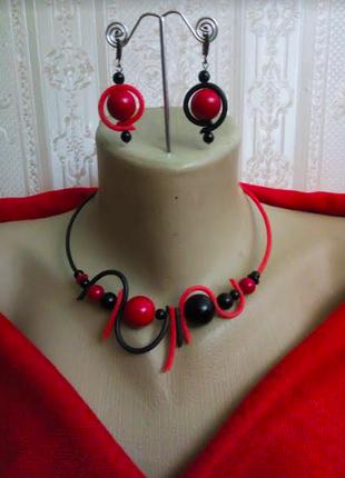 Чокер колье ожерелье серьги браслет набор  бохо агаты коралл /...