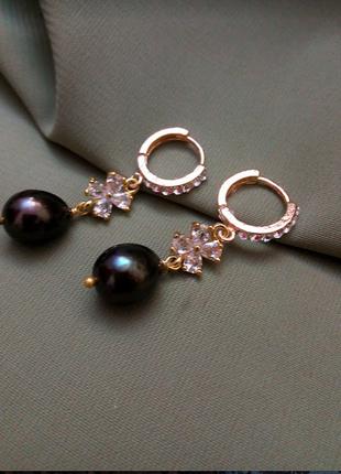 Дизайнерские серьги натуральный жемчуг барочный жемчуг подарок...