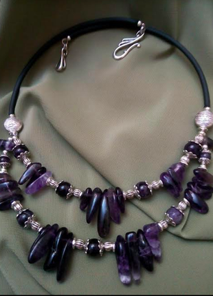Дизайнерский стильный чокер колье ожерелье бусы аметист натура...