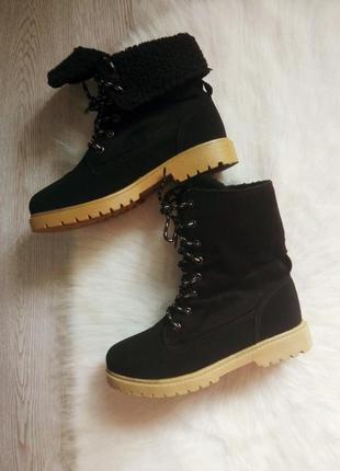 Черные зимние деми замшевые ботинки со шнуровкой высокие сапог...
