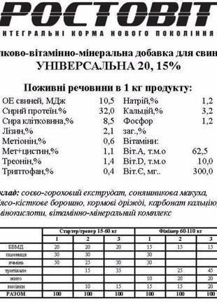 Белково-витаминно-минеральная добавка для свиней, БВМД, премик...