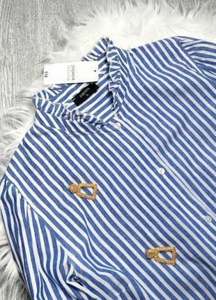 Новая рубашка блуза полоска воротник стойка рюши