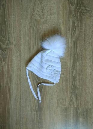 Скидка! теплая зимняя шапочка на девочку 0-6 мес., р. 35-40