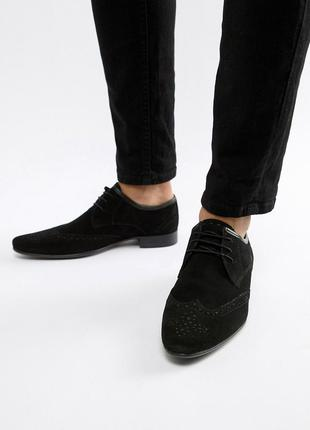 Натуральные замшевые туфли броги оксфорды асос asos