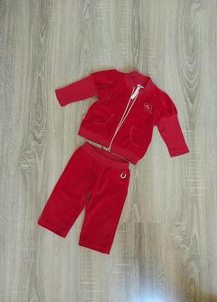 Велюровый нарядный костюм на девочку 3-6 мес, 62-68 см.