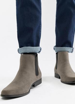 Серые ботинки челси для широкой стопы из искусственной замши a...