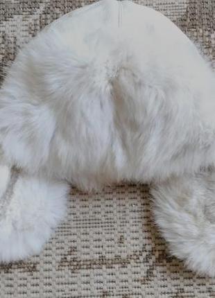 Зимняя шапка-ушанка с мехом кролика
