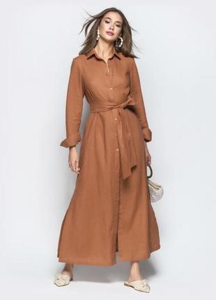 Бесподобное льняное платье-халат-рубашка,длинное,макси