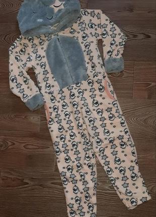 Теплая махровая пижама слип комбинезон домашний. турция