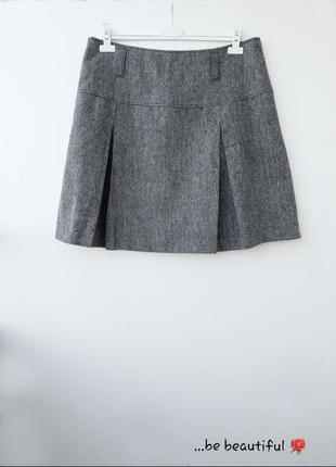 Короткая юбка теплая мини юбка в складки большой размер 4xl батал
