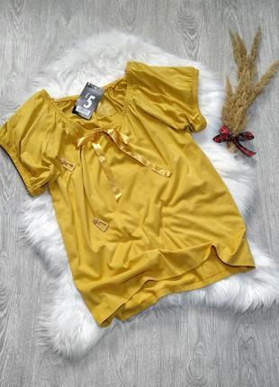 Хлопковая горчичная блуза футболка с бантом большой 24 размер ...