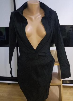 Платье рубашка черное от tezenis! италия! глубокий вырез