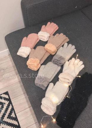 Акция!!! тёплые ангоровые варежки и перчатки