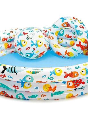 Детский надувной бассейн 132*28 см, с мяч