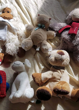 Мягкие игрушки мишки обезьянка собачка бегемот лев человек-паук