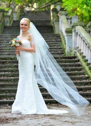 Фата невесты длинная айвори