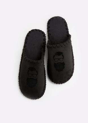 Мужские домашние тапочки бородач черные