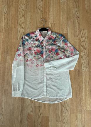 Женская рубашка, блуза с цветами, размер s