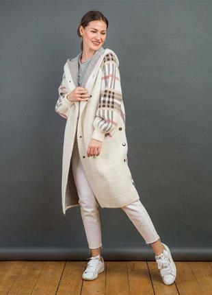 Пальто альпака клетчатое молочное