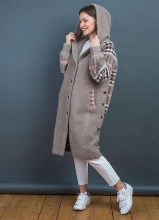 Пальто альпака клетчатое серое
