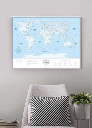 Скретч карта мира Голубая с серебряным покрытием