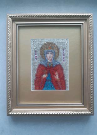Именная икона Олеся / ручная работа / вышивка бисером / подарок